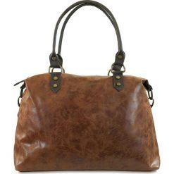 Torebki klasyczne damskie: Skórzana torba w kolorze karmelowym – 43 x 34 x 13 cm