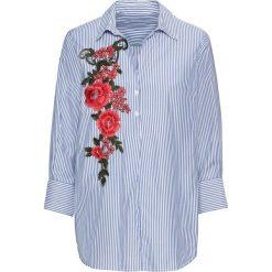 Tunika z haftem bonprix biało-niebieski w paski. Białe tuniki damskie marki bonprix, z haftami, z krótkim rękawem. Za 149,99 zł.