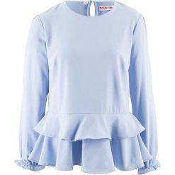 Bluzka z baskinką, z kolekcji Maite Kelly bonprix perłowy niebieski. Niebieskie bluzki z odkrytymi ramionami bonprix. Za 59,99 zł.