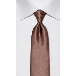 Krawaty męskie: Jedwabny krawat w kolorze brązowym – szer. 8 cm