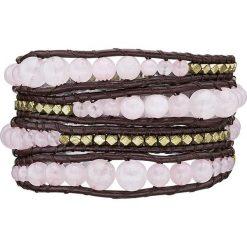 Bransoletki damskie na nogę: Skórzana bransoletka z różowym kwarcem