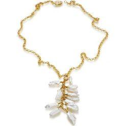 Naszyjniki damskie: Pozłacany naszyjnik z perłami – (D)45 cm