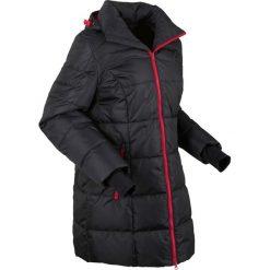 Ciepła długa kurtka pikowana funkcyjna bonprix czarno-ciemnoczerwony. Czarne kurtki damskie pikowane bonprix. Za 239,99 zł.