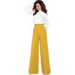 Spodnie z wysokim stanem: Miodowe Spodnie z Szerokimi Nogawkami z Wysokim Stanem