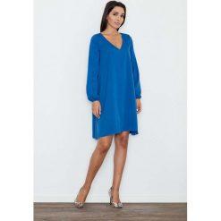 Niebieska Sukienka Trapezowa z Długim Rękawem. Niebieskie sukienki mini Molly.pl, na co dzień, l, z długim rękawem, trapezowe. Za 159,90 zł.