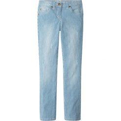 Spodnie dziewczęce: Dżinsy bonprix niebieski dżins – biały