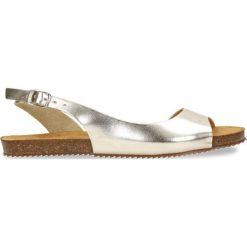 Sandały SHILA. Szare sandały damskie marki Gino Rossi, w paski, ze skóry, na płaskiej podeszwie. Za 239,90 zł.