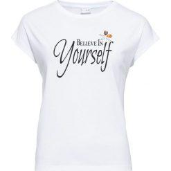 T-shirt bonprix biel wełny. Białe t-shirty damskie bonprix, z aplikacjami, z wełny. Za 59,99 zł.