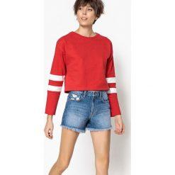 Dwukolorowa bluza sportowa. Czerwone bluzy damskie La Redoute Collections, l, z bawełny, z długim rękawem, długie. Za 100,76 zł.