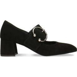 Czółenka HIROMI. Czarne buty ślubne damskie Gino Rossi, w paski, ze skóry, na słupku. Za 179,90 zł.