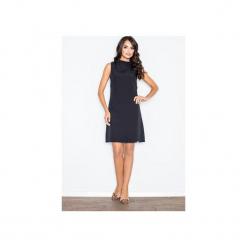 Sukienka M299 Czarny. Szare sukienki na komunię marki FIGL, m, z bawełny, eleganckie, z asymetrycznym kołnierzem, z długim rękawem. Za 139,00 zł.