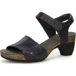 """Rzymianki damskie: Skórzane sandały """"Traudi"""" w kolorze granatowym"""