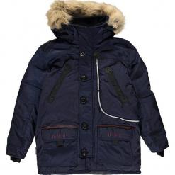 """Kurtka zimowa """"Carnaval"""" w kolorze granatowym. Niebieskie kurtki chłopięce zimowe marki Geographical Norway Kids & Women, z aplikacjami. W wyprzedaży za 346,95 zł."""