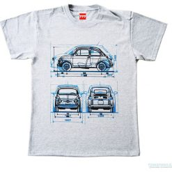 Koszulka FIAT 500 OLD GREY. Czarne t-shirty męskie z nadrukiem marki Pakamera, m, z kapturem. Za 77,00 zł.