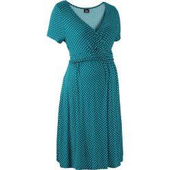 Sukienki: Sukienka ciążowa i do karmienia, shirtowa, krótki rękaw bonprix niebieskozielony - morski pastelowy w kropki