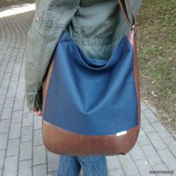 Shopper bag damskie: granatowa torba worek, listonoszka worek granat