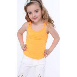 Bluzki dziewczęce: Koszulka dziewczęca na podwójnych ramiączkach fluo pomarańczowa NDZ7772