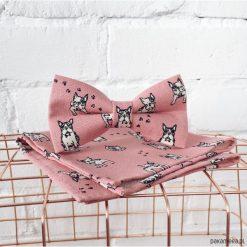 Poszetki męskie: Dogue. Różowa mucha w buldogi + poszetka