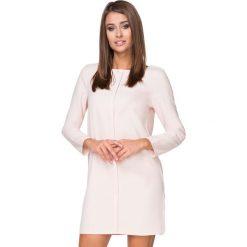 Sukienki balowe: Jasnobeżowa Sukienka Elegancka z Plisą na Przodzie