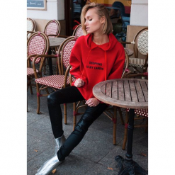 Czerwona Bluza Easy Love. Czerwone bluzy damskie other, l, z kapturem. Za 49,99 zł.