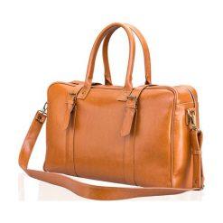 Camelowa Skórzana męska torba podróżna, weekend Solier MARSHALL. Brązowe torby podróżne Solier, w paski, ze skóry, na ramię. Za 639,00 zł.
