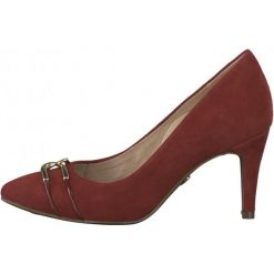 Tamaris Czółenka Damskie 40 Czerwone. Czerwone buty ślubne damskie Tamaris, ze skóry, na wysokim obcasie. Za 319,90 zł.