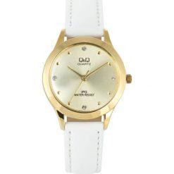 Zegarek Q&Q Damski QZ05-100 Klasyczny Cyrkonie. Białe zegarki damskie Q&Q. Za 126,99 zł.