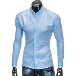 KOSZULA MĘSKA Z DŁUGIM RĘKAWEM K404 - BŁĘKITNA. Brązowe koszule męskie na spinki marki Ombre Clothing, m, z aplikacjami, z kontrastowym kołnierzykiem, z długim rękawem. Za 49,00 zł.