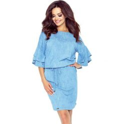Sukienki: Damita urocza sukienka z modnymi rękawami niebieski jasny