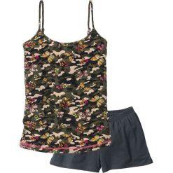 Piżamy damskie: Piżama z krótkimi spodniami i topem na cienkich ramiączkach bonprix intensywny niebieski – oliwkowy z nadrukiem
