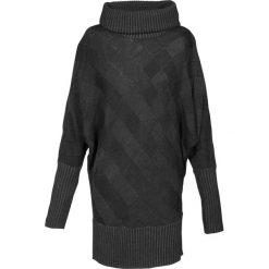Długi sweter bonprix antracytowy. Szare golfy damskie bonprix, w prążki, z długim rękawem. Za 99,99 zł.