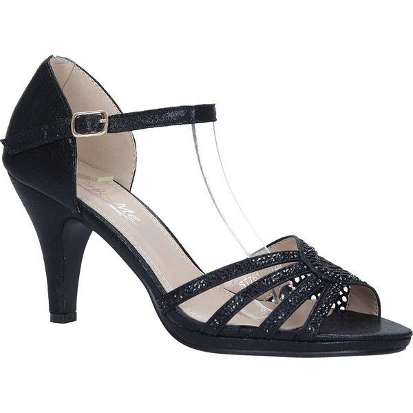 09873a13469bba Czarne sandały karnawałowe z zakrytą piętą i kryształkami Casu ST761 ...