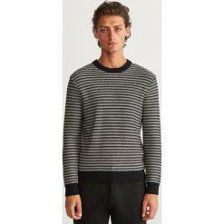 Sweter w paski - Czarny. Szare swetry klasyczne męskie marki bonprix, l, melanż. Za 89,99 zł.