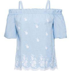 """Bluzka """"carmen"""" z haftem bonprix jasnoniebieski. Niebieskie bluzki asymetryczne bonprix, z haftami, z kołnierzem typu carmen. Za 79,99 zł."""