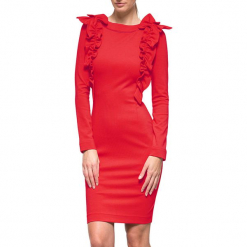 Sukienka w kolorze czerwonym. Czerwone długie sukienki marki YULIYA BABICH, xs, z dekoltem na plecach, z długim rękawem. W wyprzedaży za 419,95 zł.