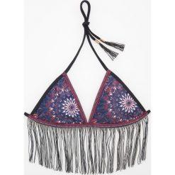 Stroje dwuczęściowe damskie: Góra od bikini z frędzlami – Granatowy
