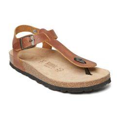 Sandały damskie: Skórzane sandały w kolorze brązowym