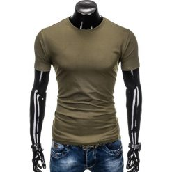 T-shirty męskie: T-SHIRT MĘSKI BEZ NADRUKU S884 – KHAKI