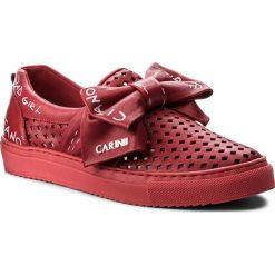 Półbuty CARINII - B4021/S L93-000-000-B67. Czerwone półbuty damskie skórzane Carinii, na płaskiej podeszwie. W wyprzedaży za 199,00 zł.