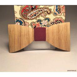 Poszetki męskie: Drewniana muszka z poszetką DIRTY PINK