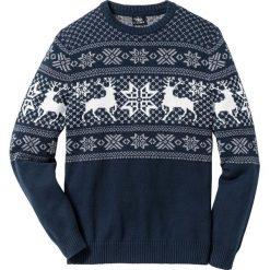 Sweter w norweski wzór Regular Fit bonprix ciemnoniebieski. Niebieskie swetry klasyczne męskie marki bonprix, l. Za 109,99 zł.
