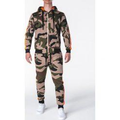 Bluzy męskie: KOMPLET MĘSKI BLUZA + SPODNIE Z18 – ZIELONY/MORO