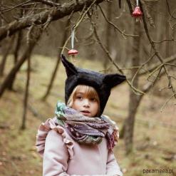 Czapka bonetka KOT. Brązowe czapki zimowe damskie Pakamera, z bawełny. Za 98,00 zł.