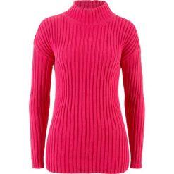 Sweter bawełniany ze stójką bonprix różowy hibiskus. Czerwone swetry klasyczne damskie bonprix, z bawełny, ze stójką. Za 69,99 zł.