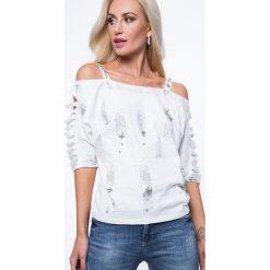 Bluzka poprzecinane rękawy kremowa ZZ1052. Białe bluzki damskie Fasardi, l. Za 63,20 zł.