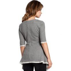 ETHEL Bluzka z rozkloszowanym dołem - szara. Szare bluzki z odkrytymi ramionami BE, l, z dzianiny, biznesowe, z krótkim rękawem. Za 99,00 zł.
