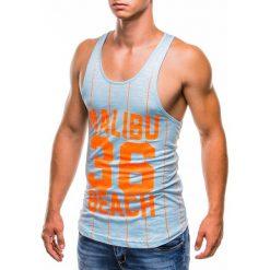 BOKSERKA MĘSKA Z NADRUKIEM S828 - BŁĘKITNA. Niebieskie t-shirty męskie z nadrukiem Ombre Clothing, m. Za 29,00 zł.