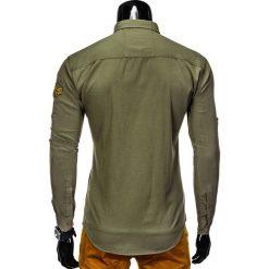 KOSZULA MĘSKA Z DŁUGIM RĘKAWEM K361 - KHAKI. Brązowe koszule męskie na spinki marki Ombre Clothing, m, z aplikacjami, z kontrastowym kołnierzykiem, z długim rękawem. Za 79,00 zł.