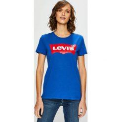 Levi's - Top. Brązowe topy damskie marki Levi's®, l, z nadrukiem, z bawełny, z okrągłym kołnierzem. Za 99,90 zł.
