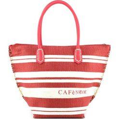 Shopper bag damskie: Shopper bag w kolorze czerwono-białym – 48 x 33 x 2,2 cm
